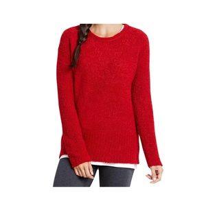 Pure Jill red plush pullover sweater stretch m